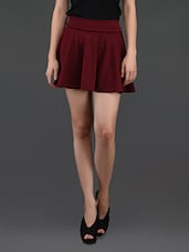 Maroon Flared Cotton Mini Skirt - N-Gal