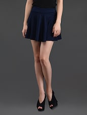 Dark Blue Flared Cotton Mini Skirt - N-Gal