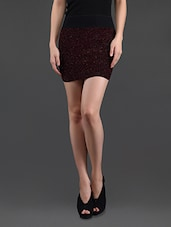 Maroon Shimmery Pencil Skirt Cum Tube Top - N-Gal