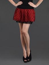 Polka Dot Printed Lace Lining Mini Skirt - N-Gal