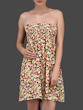 Floral Print Strapless Tube Dress - N-Gal