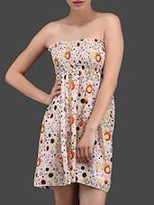 Bubbles Printed Chiffon Strapless Dress - N-Gal
