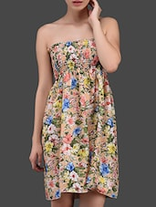 Floral Print Strapless Short Tube Dress - N-Gal