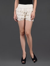 Off White Lacy Divided Skirt - N-Gal