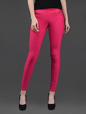 Skinny Fit Pink Cotton Lycra Jeggings - AGC By Pretty Angel