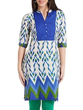 Blue Geometric Printed Cotton Kurti - Soch