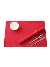 Ribbed Placemat Lurex Table Mat Set Of 2Pcs Red/Silver - By