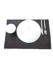 Ribbed Placemat Lurex Table Mat Set Of 2Pcs Black - By