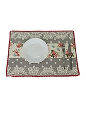 Floral Printed With Lace Table Mat Set Of 2 Pcs Ivory/ Multi - By
