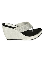 Silver Tone Straps Wedge Sandals - ZACHHO