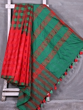 Red & Green Checked Handloom Cotton Silk Saree - Creation