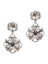 Silver Floral Alloy Dangle Earrings - Stol'n
