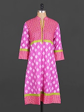 Mandarin Collar Block Printed Cotton Kurta - Maya Antiques