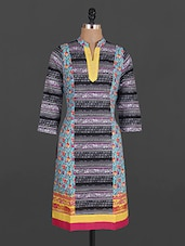 Mandarin Collar Printed Cotton Kurta - Maya Antiques