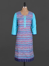Printed Quarter Sleeve Cotton Kurta - Maya Antiques