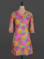 Floral Print Quarter Sleeve Cotton Kurta - Maya Antiques