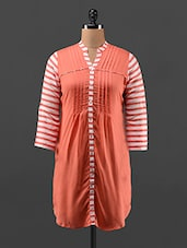 Striped Quarter Sleeve Peach Pin-tucked Tunic - By