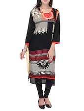 Black Rayon Regular Kurta - By
