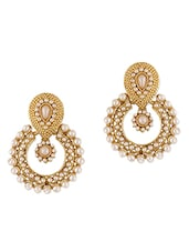 Ethnic Pearl Embellished Earrings - Dancing Girl