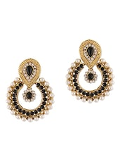 Ethnic Black Stones & Pearls Embellished Earrings - Dancing Girl