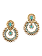 Blue Stones & Pearls Embellished Earrings - Dancing Girl