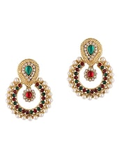 Multicolour Stones & Pearl Embellished Earrings - Dancing Girl