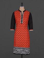 Ethnic Lady Printed Mandarin Collar Cotton Kurta - Vasudha