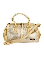 Gold Crocodile Skin Leatherette Handbag - Alonzo