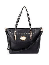 Stitch Detailed Black Leatherette Tote - Alonzo
