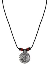 Flower Inspired Etched Oxidized Pendant Necklace - Patootie