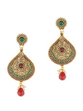 Traditional Red-green Beads Dangle Earrings - Young & Forever