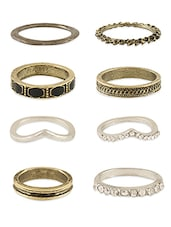 Crystal & Acrylic Studded Metal Alloy Rings - Young & Forever