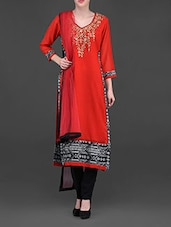 Embellished Red And Black Straight Suit - Chitwan Mohan
