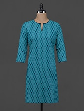 Block Printed Quarter Sleeve Cotton Kurta - Fami India