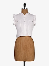 White Shirt Collar Cotton Crop Top - Alibi