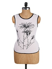 White Sleeveless Top With Flower Print - Alibi