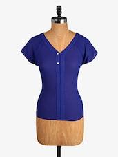 Royal Blue V-neck Polyester Top - Alibi