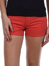 Plain Rusty Cotton Lycra Shorts - Alibi