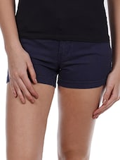 Plain Dark Blue Cotton Lycra Shorts - Alibi