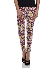 Floral Print Ankle Length Cotton Trousers - Alibi