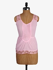Pink Lace Yoke Sleeveless Sheer Georgette Top - Alibi