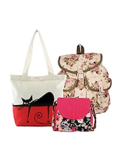 multi colored canvas printed tote, sling and backpack(set of 3) -  online shopping for backpacks