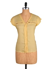 Yellow Short-Sleeved Top With Zipper Detailing - Alibi