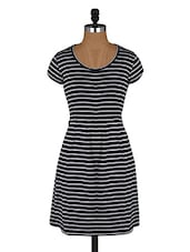 Striped Round Neck Cotton Dress - Amari West