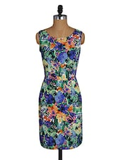 Tropical Print Round Neck Short Dress - Amari West