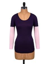 Dark Purple Viscose Full-sleeved Top - Amari West