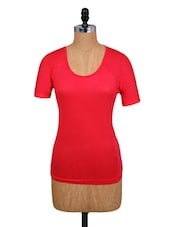Solid Red Round Neck Top - Amari West