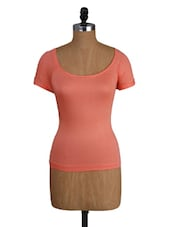 Peach Viscose Top With Lacy Back - Amari West