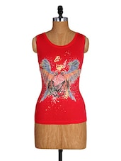 Round Neck Sleeveless Bird Printed Top - Amari West