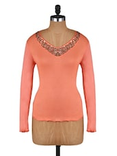 Peach Sequined Full-sleeved Cotton Top - Amari West